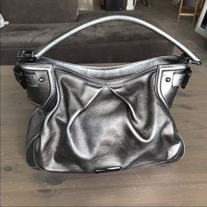 Burberry Gunmetal Metallic Hobo Purse Bag